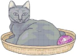 Cat In A Basket Cross Stitch Pattern