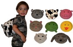 This fun and easy pattern includes full size pattern pieces to make eight backpack designs - teddy bear, dog, cat, pig, cow, sheep, frog and duck!